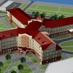 Кирпичная кладка новой больницы в Азово